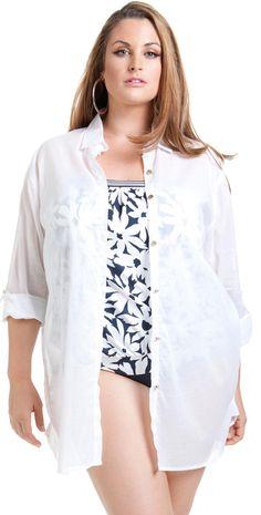 5e609737068e7 Anne Cole 2014 Plus Size Boyfriend Shirt in White 14PC504-WHT