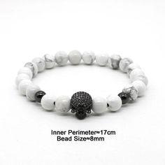 Skull Head and White Stone Beads Bracelet [ 4 Variation ] Bracelets For Men, Jewelry Bracelets, Jewelry Box, Jewelry Making, Jewellery, Hand Accessories, Skull Head, Skull Bracelet, Beaded Skull