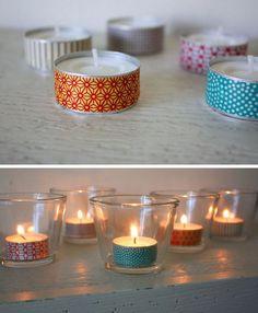Déco minute de bougies chauffe-plat avec du masking tape - idée lumineuse !