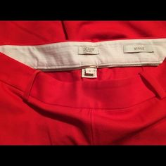 J. Crew Minnie Size 4 Red Capris These are gently worn size 4 J. Crew Cafe Capris.  They are a bright red. If you'd like additional pictures please let me know. I'm new to Poshmark so please share and let's follow each other's closets! J. Crew Pants Capris