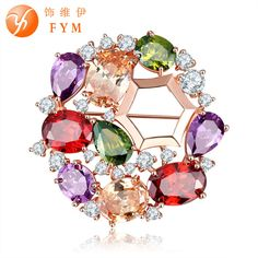 2016 New Fashion Summer Brooch for Girl Round Cubic Zircon Scarf Lapel Pins Brooches for Women Jewelry Accessories BJ0002