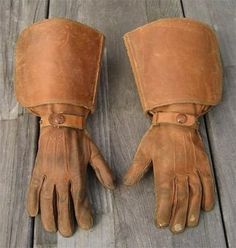 1930s leather gauntlet motorcycle gloves @Susan Brunner -for brian and his cowboy boots!