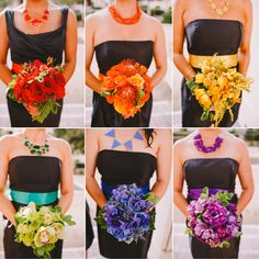 Whimsical Rainbow Wedding Where The Bridesmaids Wore Black And Each Carried A Diffe Color All Groomsmen Tux