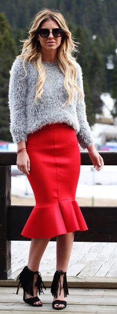Flounce Hem Pencil Skirt Streetstyle by Zorannah.