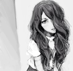 Black and White Anime Girl | Monochrome Anime Art | I like her curly hair I should learn how to draw it (: