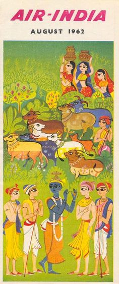 Vintage Travel Timetable for Air-India ~ August Pub Vintage, Vintage India, Vintage Air, Hare Krishna, Krishna Art, Air India, Travel Illustration, Cow Illustration, India Poster