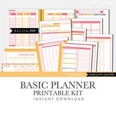 Printable Planner Set - Basic Kit - Perpetual Calendar - Pink and Orange on Etsy, $9.99