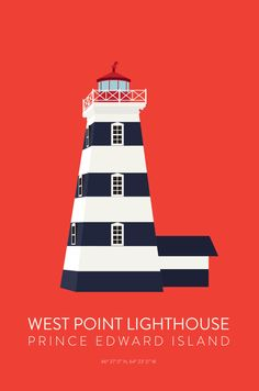 West Point Lighthouse Print by Bess Callard // Available at The Girl From Away >> http://www.thegirlfromaway.com/shop/west-point-lighthouse-print