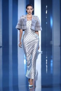 ralph and russo fall winter 2014 2015 couture look 2 nipped waist dress jacket -- Ralph & Russo Fall/Winter Haute Couture Collection Couture Fashion, Runway Fashion, High Fashion, Paris Fashion, Fashion 2014, Daily Fashion, Street Fashion, Ralph & Russo, Couture Looks