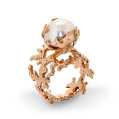 CORAL PEARL Rose Gold Ring 18K Gold Plated Pearl Ring by AroshaTaglia
