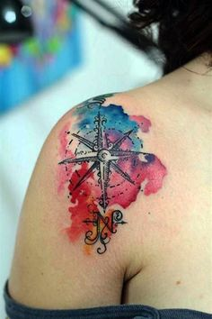 My next tattoo, watercolor compass tattoo. Shoulder/collarbone area