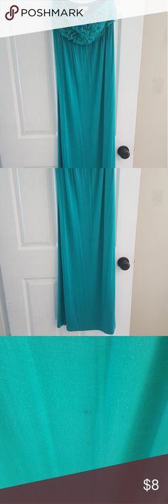 Blue/Green strapless Maxi Super comfy maxi dress. Flirty ruffles on top. Strapless. Perfect for a beach day! There is a small mark on the front,  see third picture. Reflected in price. New York & Company Dresses Maxi