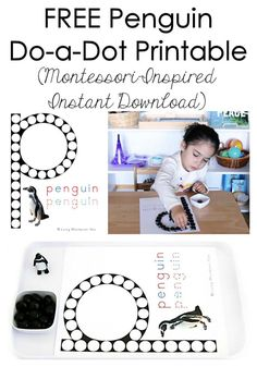 Long list of free penguin printables plus ideas for Montessori-inspired penguin activities using free printables; perfect for a winter or Antarctic theme. Free Preschool, Preschool Lessons, Preschool Worksheets, Toddler Preschool, Winter Activities For Kids, Montessori Activities, Learning Activities, Preschool Activities, Do A Dot