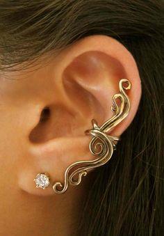 Bronze French Twist Ear Cuff.