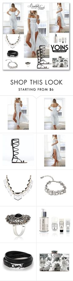 """Yoins Off Shoulder Stripe Playsuit"" by ludmyla-stoyan ❤ liked on Polyvore featuring Sisley Paris, Yves Saint Laurent, playsuit, yoins, yoinscollection and loveyoins"