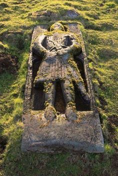 The gravesite of a 13th century crusader on the Isle of Skye, Scotland.