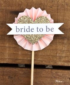 Bridal Shower Cupcake Toppers- Pink & Gold