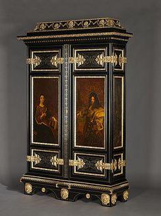 Armoire d'après un modèle de Boulle , époque Napoleon III , avec Vernis Martin et Bronze par Auguste-Maximilien Delafontaine (1813-1892...