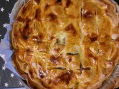 pâte brisée, pomme de terre, confit de canard, crême fraîche, oeuf, Poivre, Sel