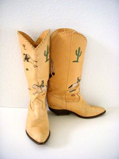 Vintage Chamois Zodiac Frontier Cowboy Boots Tan by OmAgainVintage, $55.00