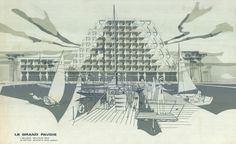 Apartment building The Grand Pavois, La Grande-Motte: perspective from a pontoon, 1967-1968 by Jean Balladur
