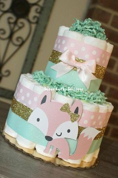2 Tier Pink Mint and Gold Fox Diaper Cake Baby Girl Fox Baby