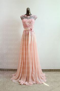Bridesmaid dress/prom dress/pink/applique/full-length on Etsy, $129.00