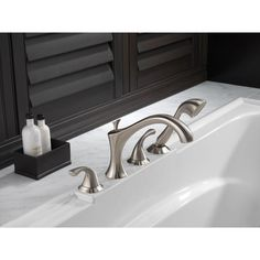 Delta Addison 2 Handle Deck Mount Roman Tub Faucet With Hand Shower Trim  Kit Only In Stainless (Valve Not Included)