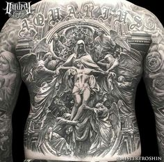 Tattoo by Dimitry Troshin | Detailed Complete Full Back Piece | Black & Grey | tattoofreakz.com