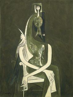 Wifredo Lam, Femme assise, huile sur toile, 1955.