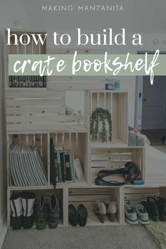 Need extra storage? Make your own DIY wood crate bookshelf for just $100! #DIY #bookshelf #crates #apartmentliving