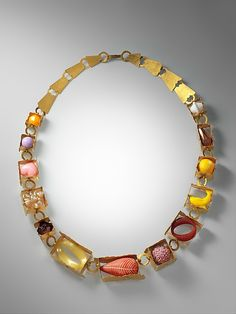 """Boxes and Components"" Necklace Artist: Helen Britton (Australian, born Lithgow, 1966) Date: 2010 Medium: Gold plated silver, plastic polymer, and found objects"