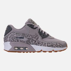 Right view of Girls' Grade School Nike Air Max 90 Leather Casual Shoes in Cheetah Atmosphere Grey/Gunsmoke All Nike Shoes, Nike Shoes Air Force, Kicks Shoes, Nike Air Max, Shoes Sneakers, Cute Shoes, Me Too Shoes, Air Max 90 Leather, Nike Free Runners