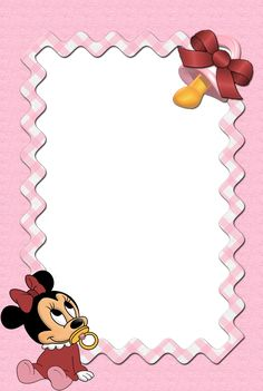 Disney Babies Clip Art | CLIC EN LA IMAGEN PARADESCARGAR Scrapbook Bebe, Baby Boy Scrapbook, Minnie Baby, Mickey Minnie Mouse, Miki Y Mini, Disney Frames, Baby Shower Menu, Free Printable Stationery, Photo Frame Design