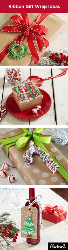 Use ribbon to create unique adorments for your presents. Learn how to craft a wreath, banner, candy cane or tree that will wow your gift recipient before they even get to what's inside. For instructions and materials, visit Michaels.com.