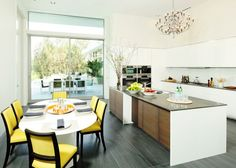 mordern clean kitchen with a pop of color