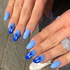 In search for some nail designs and ideas for your nails? Listed here is our set of must-try coffin acrylic nails for stylish women. Aycrlic Nails, Swag Nails, Hair And Nails, Blue Gel Nails, Bright Blue Nails, Clear Gel Nails, Teen Nails, Stiletto Nails, Best Acrylic Nails