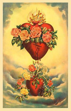 Painting this one for the sacred heart of jesus Religious Icons, Religious Art, Sagrado Corazon Tattoo, Coeur Tattoo, Sacred Heart Tattoos, Herz Tattoo, Vintage Holy Cards, Frida Art, Catholic Art