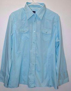 Women's CECIL Western Cowgirl Rodeo Long Sleeve Light Blue Shirt Size XXL Cute…