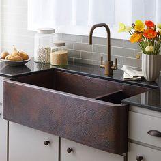 """Farmhouse 40"""" x 22"""" Duet Pro Copper Kitchen Sink"""