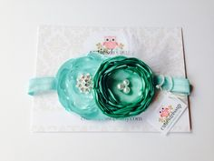 Turquose fabric flowers headband , baby headband , girls headband  by Cutiesdressup on Etsy