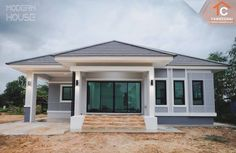 That Gray Bungalow with Three Bedrooms – Amazing Architecture Magazine Sims House Plans, House Layout Plans, Family House Plans, Dream House Plans, Modern Bungalow House Design, Modern Bungalow Exterior, Modern Design, Architectural House Plans, Architectural Features