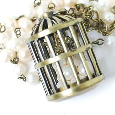 """Necklace with pendant """"birdcage"""", freshwater pearls and antiqued brass"""