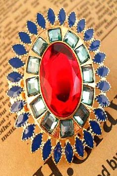 #SheInside Aulic Crystal Design Elastic Alloy Ring