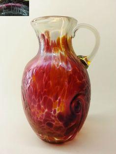 Glas-Vase/Henkelvase Dickwandig-leicht Irisierend & signiert glass vase