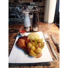Chicken thigh and rice and veggies