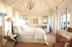 white, beachy starch bedroom