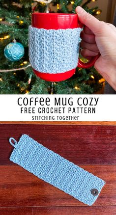 Quick,easy, and cute mug cozy crochet pattern perfect for using over and over to make gifts. Visit to see the free crochet pattern and get started now!