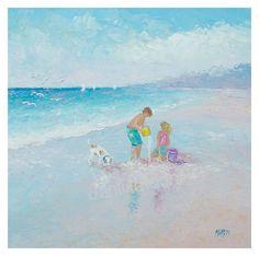 Beach Painting with children and dog beach art by JanMatsonArt #beach #beachdecor