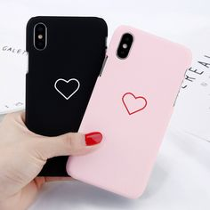 For Apple Iphone X 8 7 6 Plus Se 5 5S Love Heart Pattern Hard Pc Back Case Cover